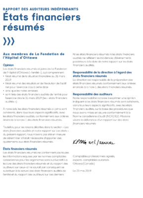 French Summary of Annual Report Financial Statements