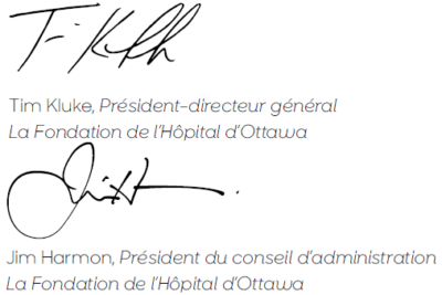 Signatures of Tim Kluke and Jim Harmon, in French