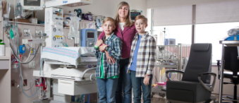 Nora Shipton and her sons, Rhys and Liam
