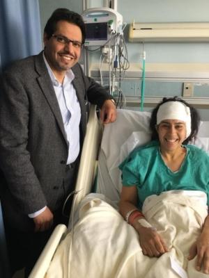 Hospital-bound Natasha with Dr. FahadAlkerayf