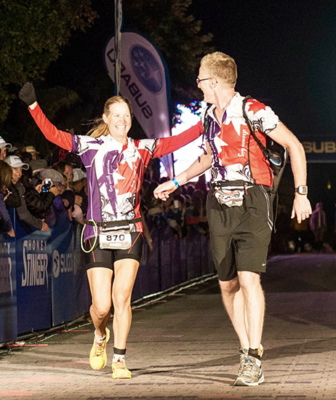 Sindy Hooper competing in 2013 Ironman Canada during cancer treatment