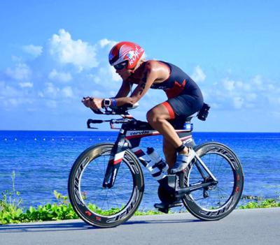 Sindy biking at the International Triathlon Union