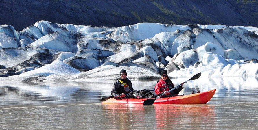 Bryde kayaking in Iceland with Natalie.