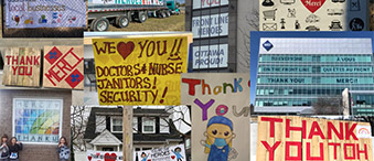 Thank you signs and messages in support of TOH Staff