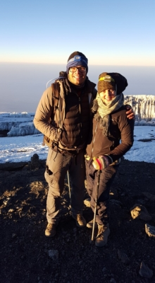 Bryde and Natalie at Uhuru Peak on Mount Kilimanjaro.